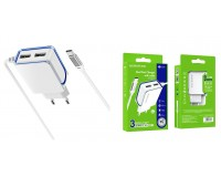 Зарядное устройство Borofone BA35A Brilliant 2100 mA USB 2хUSB, 5 В, выходной ток: USB1-2, 1А, USB2-2, 1A, общий ток 2, 1А белый, кабель Type-C, коробка