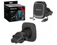 Держатель Defender Car holder 129 для смартфона/навигатора, до 6'' (60-90 мм), магнитный, на решетку вентиляции, фиксатор кабеля черный