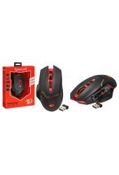 Мышь игровая Redragon Mirage USB Laser (800-4800 dpi) черный/красный 8 кнопок+колесо-кнопка, беспроводная, сверхстойкое покрытие Sand Rubber Skin, тефлоновые ножки коробка