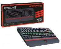Клавиатура игровая Redragon Andromeda RU USB Black 104 клавиши + (Full Anti-Ghost, 12 дополнительных) 6 режимов динамической подсветки, тип клавиш: механизированный OUTEMU Blue