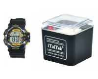 Часы наручные iTaiTek IT-876 электронные (дата, будильник, секундомер, таймер), пластик, подсветка, желтый