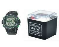 Часы наручные iTaiTek IT-879 электронные (дата, будильник, секундомер, таймер), пластик, подсветка, зеленый