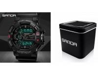 Часы наручные Sanda 599 гибридный циферблат (дата, будильник, секундомер), пластик, подсветка