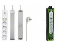 Сетевой фильтр LDNIO SE4432 4 розеток 2 м. 10А, предохранитель, 4хUSB, 3, 4А на 1 выход USB, бело-серый