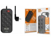 Сетевой фильтр LDNIO SE6403 6 розеток 2 м. 10А, предохранитель, 4хUSB, 3, 4А на 1 выход USB, черный