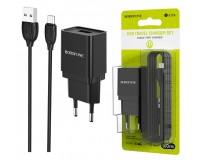 Зарядное устройство Borofone BA19A Nimble 1000 mA USB 1хUSB, выходной ток: USB-1А, черный кабель MicroUSB, блистер