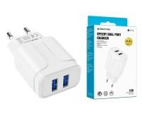 Зарядное устройство Borofone BA37A Speedy 2400 mA USB 2хUSB, 5 В, выходной ток: USB1-2, 4А, USB2-2, 4A, общий ток 2, 4А белый, коробка