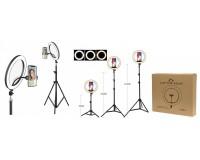 Лампа настольная Огонек OG-SMH03 336 светодиодов, штатив до 210 см, 3 режима температуры цвета, 10 уровней яркости, держатель для смартфона