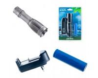 Фонарь Perfeo LT-034-A Silver 1 светодиод LED CREE T6 аккумулятор 18650 (в комплекте) или 3 * ААA Zoom, 5 режимов, размер: 3, 9*3, 9*13, 7 см, алюминий, блистер