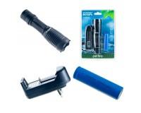 Фонарь Perfeo LT-034-A Black 1 светодиод LED CREE T6 аккумулятор 18650 (в комплекте) или 3 * ААA Zoom, 5 режимов, размер: 3, 9*3, 9*13, 7 см, алюминий, блистер