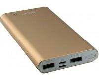 Портативное зарядное устройство GOLF EDGE10 10000 мАч 1USB выход 5В/1А, 2USB выход 5В/2.1А, + кабель MicroUSB, золото
