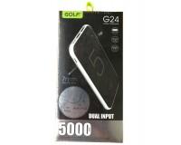 Портативное зарядное устройство GOLF G24 5000 мАч 1USB выход 5В/1А, 2USB выход 5В/2.1А, + кабель MicroUSB , черный
