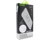 Портативное зарядное устройство GOLF G24 5000 мАч 1USB выход 5В/1А, 2USB выход 5В/2.1А, + кабель MicroUSB , белый