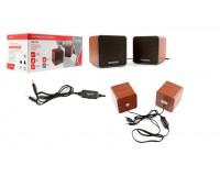 Акустические системы 2.0 Gembird SPK-206 2х2.5Вт питание от USB, корпус МДФ, ругулятор громкости, коричневый