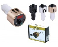 FM трансмиттер TDS TS-CAF11 12/24В, USB/microSD/AUX, автомобильный, Bluetooth 5, 0, USB зарядка 3100 mA, коробка, цветной