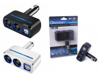 Переходник для прикуривателя OLESSON 1637 на 2 гнезда(120W) + 2 USB(5V/1000mA)