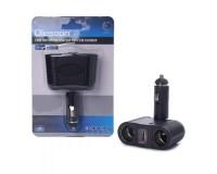 Переходник для прикуривателя OLESSON 1645 на 2 гнезда(100W) + 1 USB(5V/1000mA)