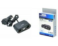 Переходник для прикуривателя OLESSON 1675 на 2 гнезда(120W) + 2 USB(5V/1000mA), вольтметр, на шнуре до 0, 6 м