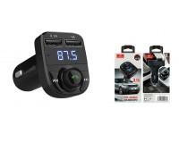 FM трансмиттер Earldom ET-M29 12-24В, USB/microSD, автомобильный, Bluetooth, USB зарядка 3100 mA, коробка, черный