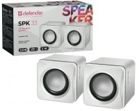 Акустические системы 2.0 Defender SPK 33 2х2, 5Вт корпус пластик, питание от USB, 5В, белый (65631)