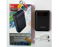 Портативное зарядное устройство FaisON HB20 Mige 10000 мАч Выходной ток:1USB-2100мА , 2USB-2100мА ; входной ток: 2000мА, размер: 9.4*6.5*2.4 см, пластик, черный
