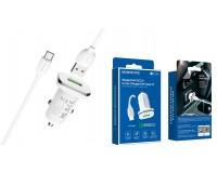 Автомобильное зарядное устройство Borofone BZ12A Lasting power + кабель Type-C 12/24В 1хUSB, Выходной ток: USB1-3, 0A, QC 3.0, коробка белое