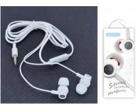 Наушники с микрофоном EZRA EP09 внутриканальные, кабель 1, 2м, коробка, белые