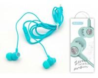 Наушники с микрофоном EZRA EP09 внутриканальные, кабель 1, 2м, коробка, голубые