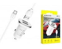 Автомобильное зарядное устройство Borofone BZ12 Lasting power + кабель Type-C 12/24В 2хUSB, Выходной ток: USB1-2, 4A, USB2-2, 4A, максимальный 2, 4 А коробка белое