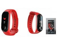 Фитнес браслет EZRA SW04-красный Размер: 22х13, 5 мм. совместимость Android 4.4 и IOS7.1 и выше, Bluetooth 4.0, ЖК-дисплей 0, 96''(160х80) цветной сенсорный, время, шагомер, расстояние, калории, пульс (*), монитор сна, вибросигналы для вызовов, SMS и em