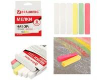 Мел цветной BRAUBERG 227442 размеры : длина - 8 см, диаметр - 13 мм. в комплекте - 6 штук (3 цветных + 3 белых), средней твердости, картонная упаковка