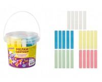 Мел цветной для асфальта ЮНЛАНДИЯ 227445 квадратный в комплекте - 25 штук, 5 цветов, пластиковое ведро