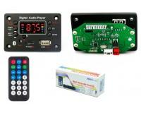 Модуль MP3 Орбита OT-SPM06 Bluetooth, FM, microSD, USB, AUX 3.5mm, размер: 7, 5х5х2, 5 см., дисплей, питание 12V, чип: AC6926A, пульт ДУ, 2 шлейфа черный
