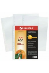 Папка - файлы BRAUBERG 221991 Формат: А4, комплект 100 шт, матовые, 0, 030 мм,