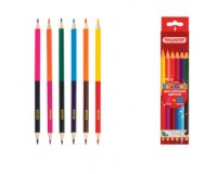 Карандаши цветные Пифагор 181366 Диаметр грифеля -3 мм двусторонние, 6 штук - 12 цветов, шестигранный корпус, заточенный, картонная коробка c европодвесом