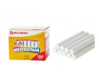 Мел белый BRAUBERG 223550 длина - 8 см, диаметр - 9 мм. в комплекте - 100 штук, Антипыль (не пачкает руки), крыглый, картонная упаковка