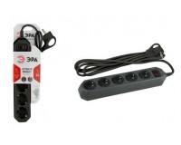 Сетевой фильтр Эра USF-5es-3m-B 5 розеток 3 м. базовая защита, 10A, 3x0, 75мм2, с заземлением, с выключателем, черный