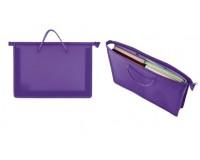 Папка - сумка Пифагор 228237 Формат: А4 пластиковая на молнии, ручки -шнурок, фиолетовая
