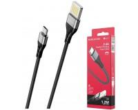 Кабель microUSB Borofone длина 1, 2м, USB2.0, 3А, коробка, черный (BU11 Tasteful)
