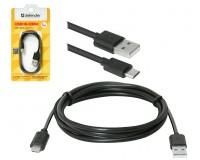 Кабель microUSB Defender длина 1м, допустимый ток 2А, блистер, черный (USB08-03BH)