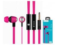 Наушники с микрофоном Celebrat G9 (S30) внутриканальные, кабель 1, 2м, кнопка ответа, розовые коробка
