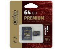 Флэш карта microSDXC 64 GB Perfeo Class 10 UHS-1 V30 PREMIUM с адаптером