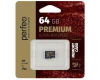 Флэш карта microSDXC 64 GB Perfeo Class 10 UHS-1 V30 PREMIUM без адаптера