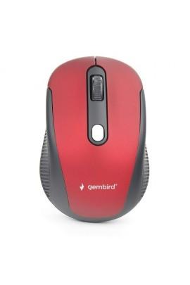 Мышь беспроводная Gembird MUSW-420-1 USB Optical 1000/1600dpi красная, 3 кнопки+колесо-кнопка покрытие Soft Touch для комфортной работы, бесшумная, блистер