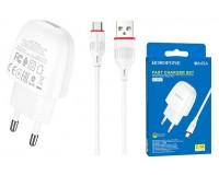 Зарядное устройство Borofone BA49A Vast power + кабель microUSB 2100 mA USB 1хUSB, выходной ток: USB-2, 1А, белый, коробка