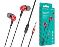 Наушники с микрофоном Borofone BM52 Revering внутриканальные, кабель 1, 2м, коробка, красный