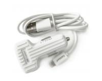 Автомобильное зарядное устройство Earldom ES-130I+кабель IPhone5 12/24В 2хUSB, Выходной ток: 2, 4 A коробка белый