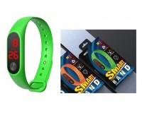 Часы наручные EZRA SW24 электронные (дата, время), пластик, зеленый