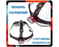 Фонарь налобный Патриот PT-FLG30 2 светодиода CREE T6 2х18650, пластик/металл, шнур для заряда