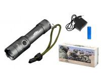 Фонарь Патриот PT-FLR24 1 светодиод T6 аккумулятор 18650 ZOOM, сетевое ЗУ для зарядки аккумулятора: 4.2V/500mA